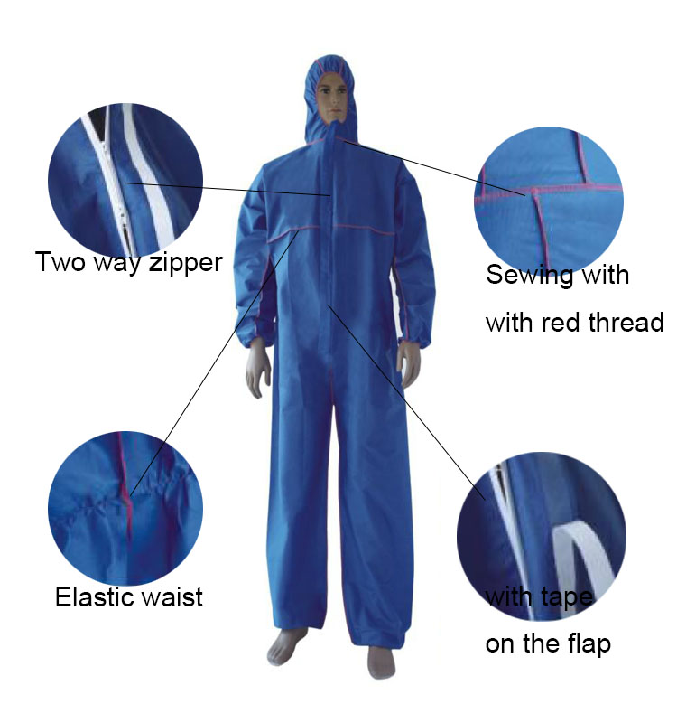 Disposable PP and SMS Protective Coverall Blue Details