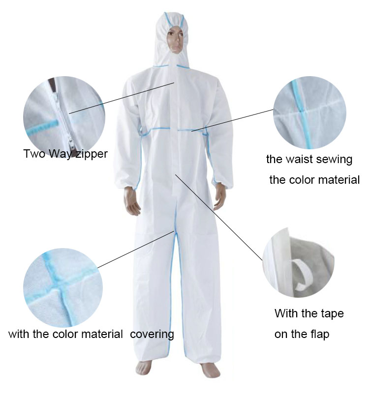 Disposable PP and SMS Protective Coverall Colored Seams