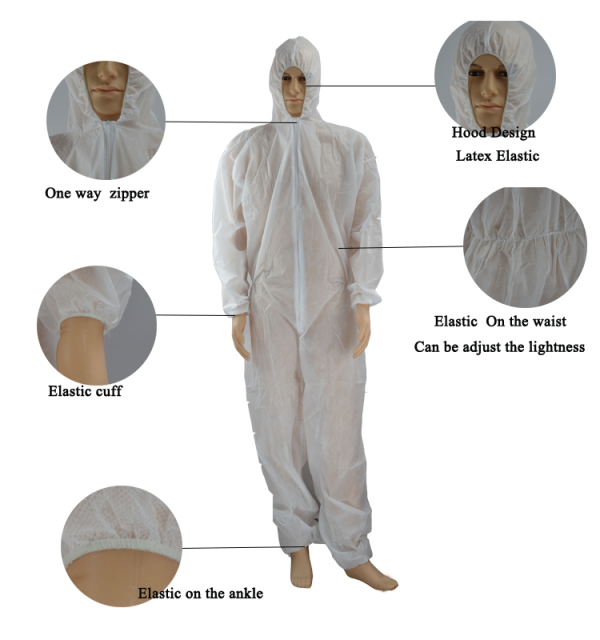 Disposable PP and SMS Protective Coverall Details